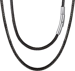 Braided Leather Cord Necklace 316L Stainless Steel Sturdy Snap Clasp,16-30 Inch 2/3MM Black Brown Men Women DIY Durable Waterproof Woven Wax Rope Chain for Pendant, Custom Name Personalized