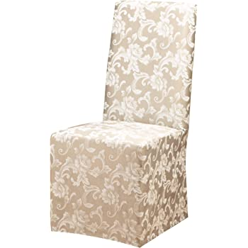 Amazon Com Surefit Home Decor Duck Solid Long Full Length Dining Room Chair One Piece Slipcover Relaxed Fit 100 Cotton Machine Washable 24x24x42 Inches Natural Color Furniture Decor