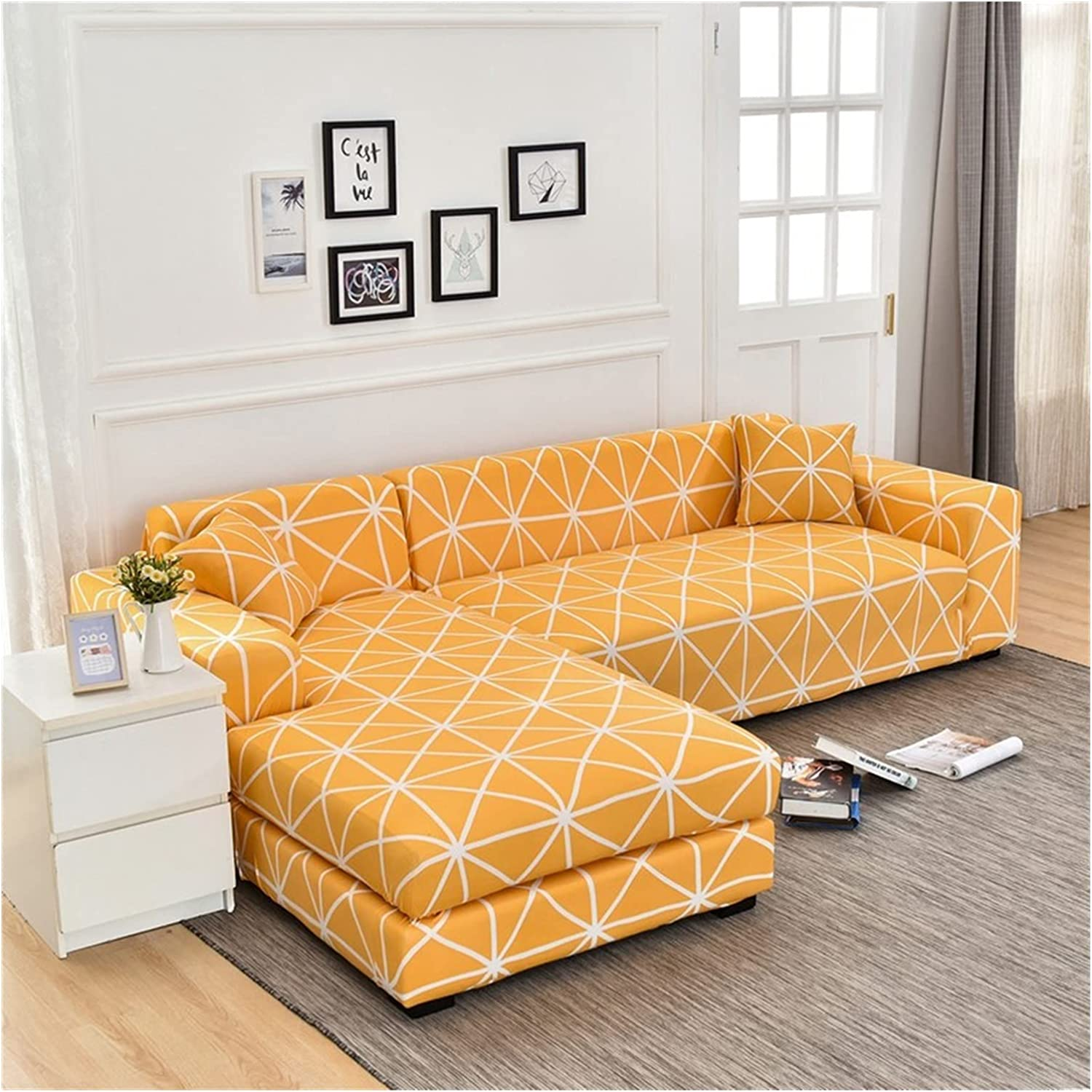 latest Sofa Credence Cover Elastic Sectional Couch L-Shape Slipcover Corner