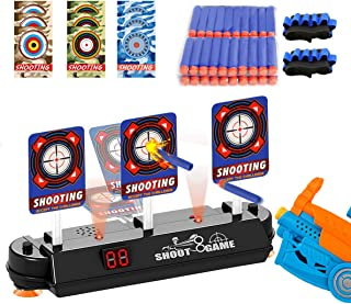 Electric Scoring Auto Reset Shooting Digital Target for Nerf Guns Blaster Elite/Mega/Rival Series with 40 Pcs Refill Darts and 2 Hand Wrist Bands 9 pcs DIY Target Sticker for Boys&Girls