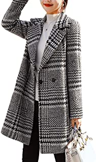 Women's Hooded Single Breasted Plaid Wool Blend Trench Coat Jacket Outwear