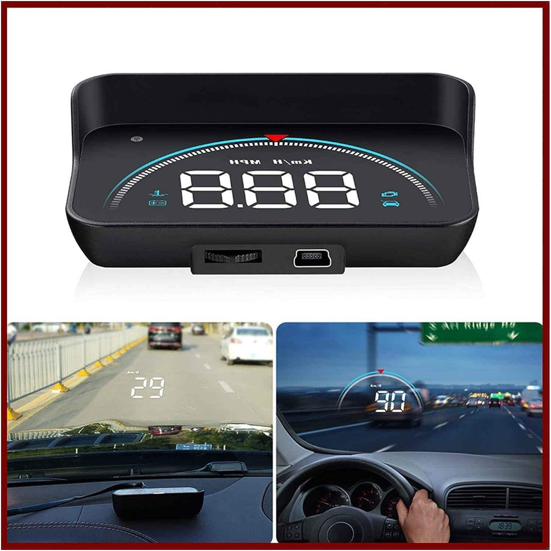 Head Up Display Auto HUD Head Up Display Overteed Warnsystem Projektor Windschutzscheibe Auto Elektronischer Spannungsalarm Headup Display Auto Color Name : Black