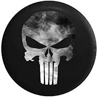 Spare Tire Cover Smokin American Patriot Punisher Skull Grey White fits Jeep Spare Tire Cover or RV Accessories Black 33 in