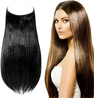 "Invisible Wire Hair Extensions Human Hair 25cm Halo One Piece Straight Long Hairpieces Real Human Hair No Clip in Hair Pieces 100g (16"" 4# medium brown)"
