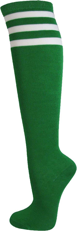 Couver Premium Quality White Striped Knee High Fashion Tube Cotton Socks(1 Pair)
