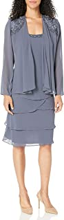 Women's Embellished Tiered Jacket Dress (Petite and Regular)