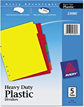 Avery 23080 Heavy-Duty Plastic Dividers w/White Tabs, 5-Tab, Letter