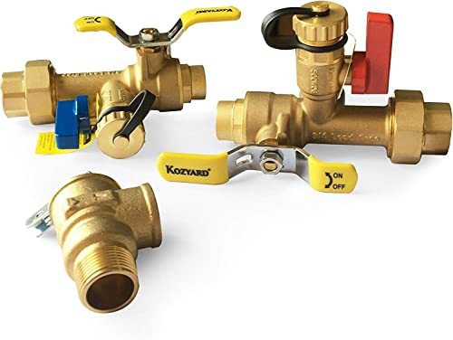 Kozyvacu 3/4-Inch IPS Isolator Tankless Water Heater Service Valve Kit with Clean Brass Construction (SWEATxFNPT)