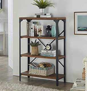 Homissue 4-Shelf Vintage Style Bookshelf, Industrial Open Metal bookcases Furniture, Etagere Bookcase for Living Room & Office, Brown, 48.2-Inch Height