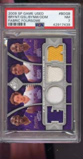 2009-10 Upper Deck SP Game Used Fabric Foursomes Kobe Bryant Pau Gasol Andrew Bynum Lamar Odom 87/199 Game Used Game Worn Jersey PSA 7 Graded NBA Basketball Card