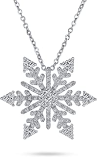 Bling Jewelry Holiday Branch Micro Pave Cubic Zirconia Christmas Snowflake Pendant Necklace for Women for Teen Plated Silver