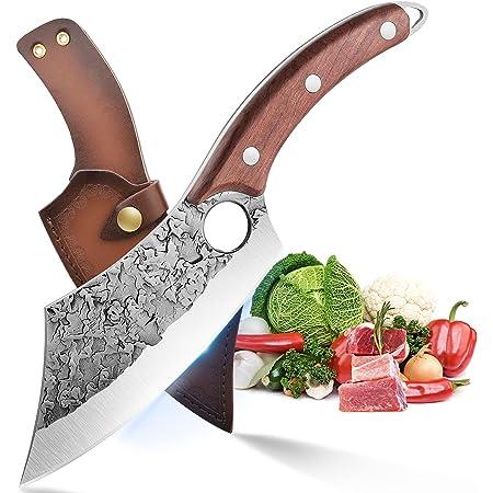 Couteau de Chef Professionnel Couteau à Désosser Couteau Cuisine Acier Carboné Coupant Couperet de Boucher Couteau à Viande Emincer Fruits Légumes avec Fourreau en Cuir pour Chasse Camping Cadeau