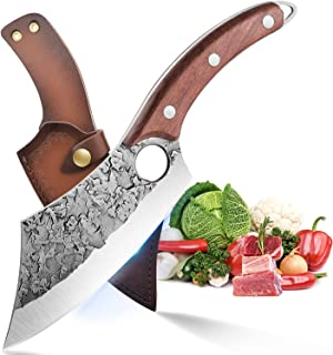 Couteau de Chef Professionnel Couteau à Désosser Couteau Cuisine Acier Carboné Coupant Couperet de Boucher Couteau à Viand...