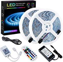 SPARKE LED Strip Lights Sync to Music Waterproof 32.8ft(10M) 600LEDs Flexible RGB 12V SMD5050 LED Tape Light with RF Music...