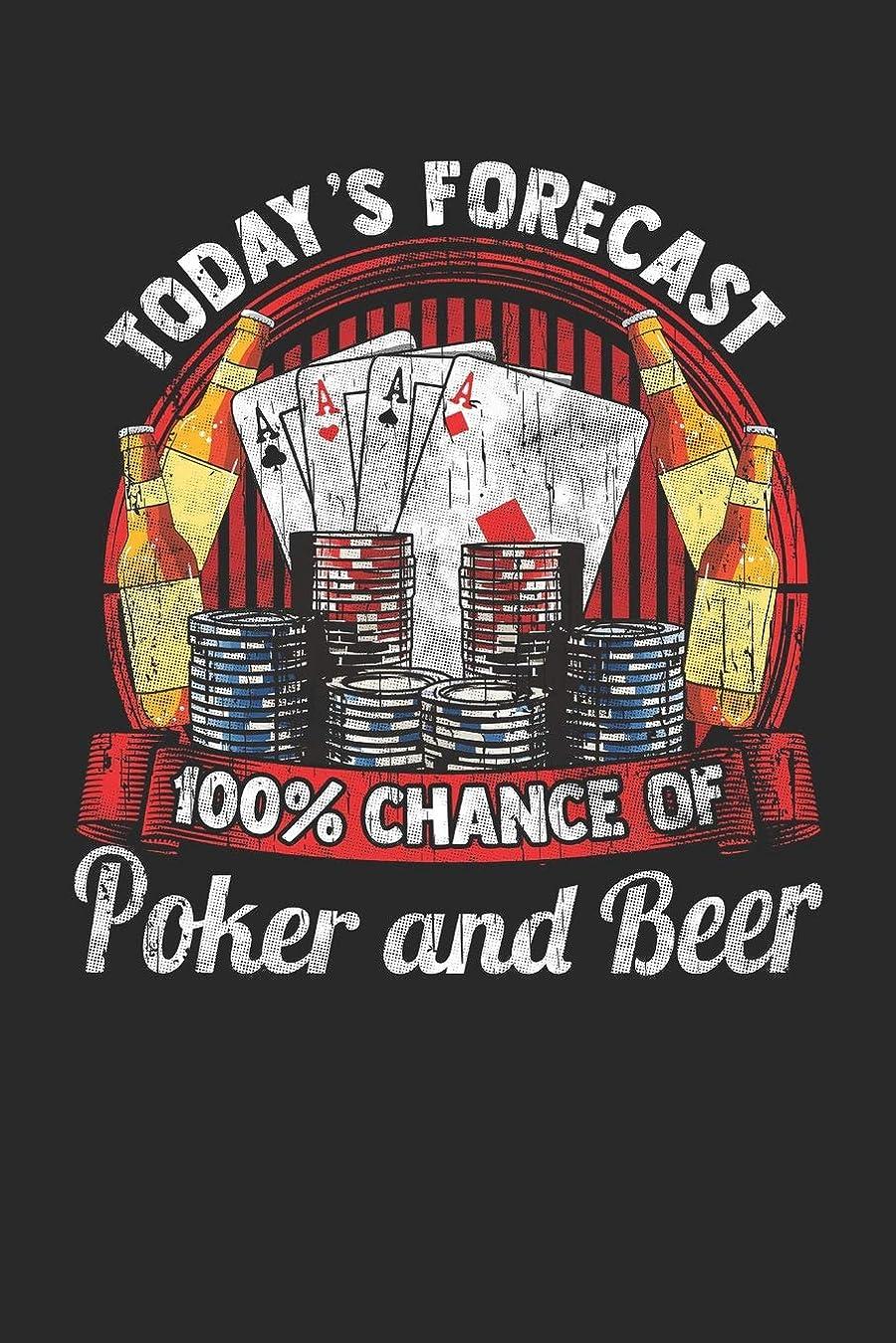警告範囲タンクToday's Forecast 100% Chance of Poker and Beer: Journal, College Ruled Lined Paper, 120 pages, 6 x 9