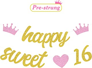 Glitter Happy Sweet 16 Banner 16th Birthday Hanging Garland Sixteen Birthday Party Decoration Supplies Sweet Sixteen Photo Booth Props Pre-strung