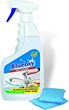 BlueOxy 500ml Tap Cleaner Spray Bottle with One Cellulose Cleaning Pads: Pack of 1 Spray Bottle and 1 Cleaning Pads | the expert hard water | soap scum | lime scale stain remover best for basins | sinks | faucets | taps | fixtures | bath tubs | shower glasses | tap cleaner to remove tough stains
