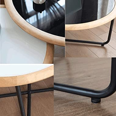 Tables Coffee Living Room Home Small Apartment Wrought Iron Tempered Glass Combination Round Side Small Coffee Sofa Furniture