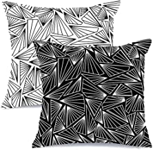 AENEY Modern Decorative Throw Pillow Covers 18x18 Set of 2 for Couch Sofa Bed Unique Geometric Design Home Decor Black and White Throw Pillows