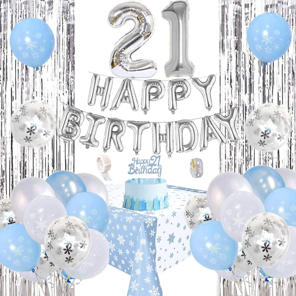 1st Frozen Happy Birthday Party Decorations Set Snowflake Silver Happy Birthday Banner Blue White Confetti Foil Balloons Tablecloth Rain Curtain Party Supplies for Girls