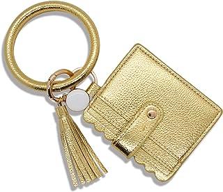 ATIMIGO Multifunctional Wristlet Keychain Bracelet Bangle Card Holder PU Leather Round Key Ring with Wallet Tassel Key Cha...