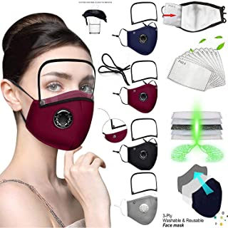4 Pack Reusable Face_Mask with Eyes Shield, Adjustable Facemasks with Breathing Valve,Washable Face_Masks with 8 Filters,B...