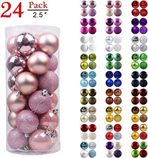 GameXcel Christmas Balls Ornaments for Xmas Tree - Shatterproof Christmas Tree Decorations Large Hanging Ball Pink 2.5