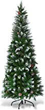 Goplus Artificial Pencil Christmas Tree, Snow Flocked with Pine Cones and Metal Stand, for Xmas Indoor and Outdoor Décor (6ft)