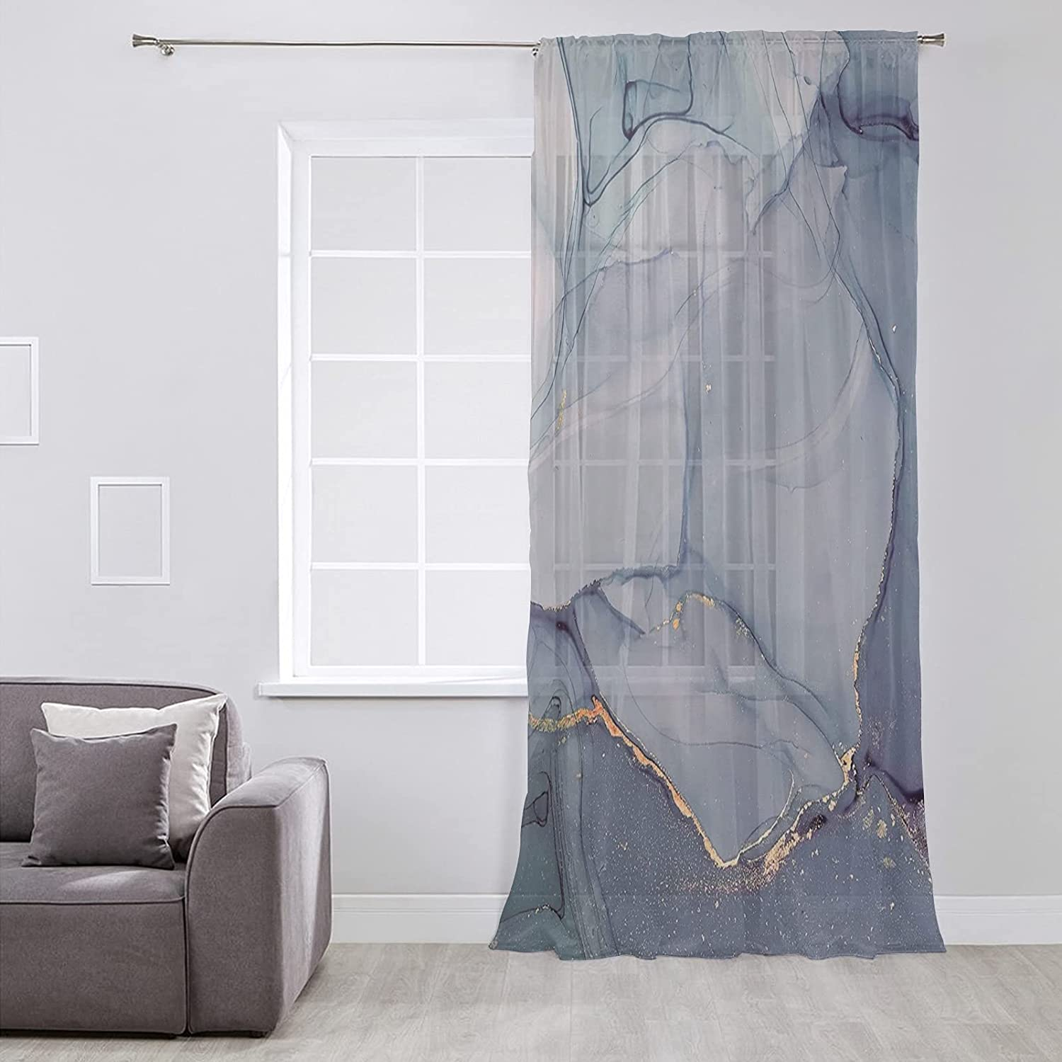 SIGOUYI Sheer Voile Chiffon Window Max 67% OFF Wrin Soft with Curtain New Free Shipping Touch