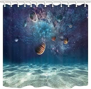 JAWO Space Decor Shower Curtain, Creative Ocean Bottom Beach and Cosmic Planet, Mildew Resistant Polyester Fabric Bathroom Decor, Bath Curtain with Hook, Bathroom Accessories, 69x70 Inch