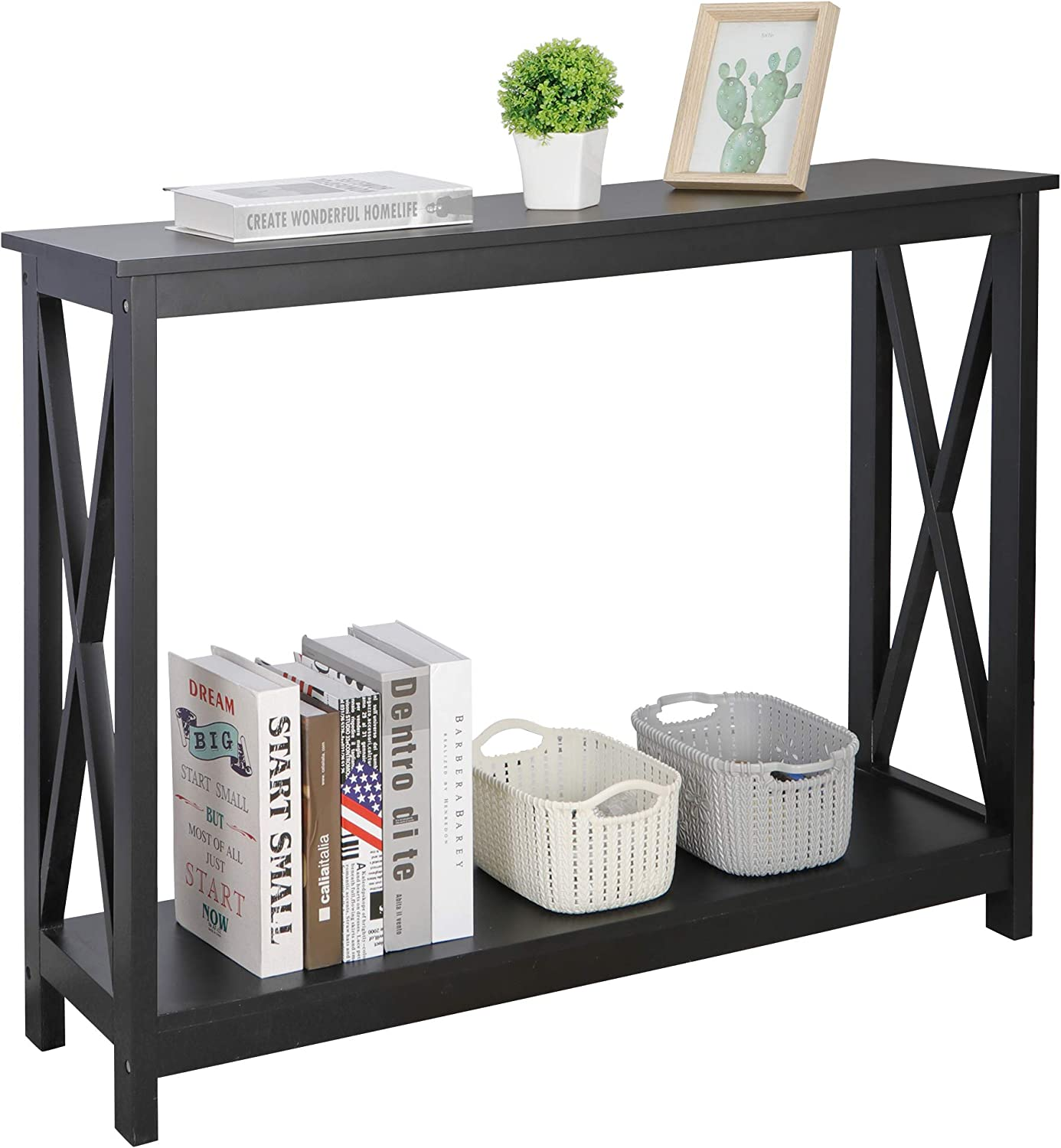 ZenStyle Sofa Side Max 59% OFF Console Table with Shelves Narrow 2 A Sale Special Price Storage