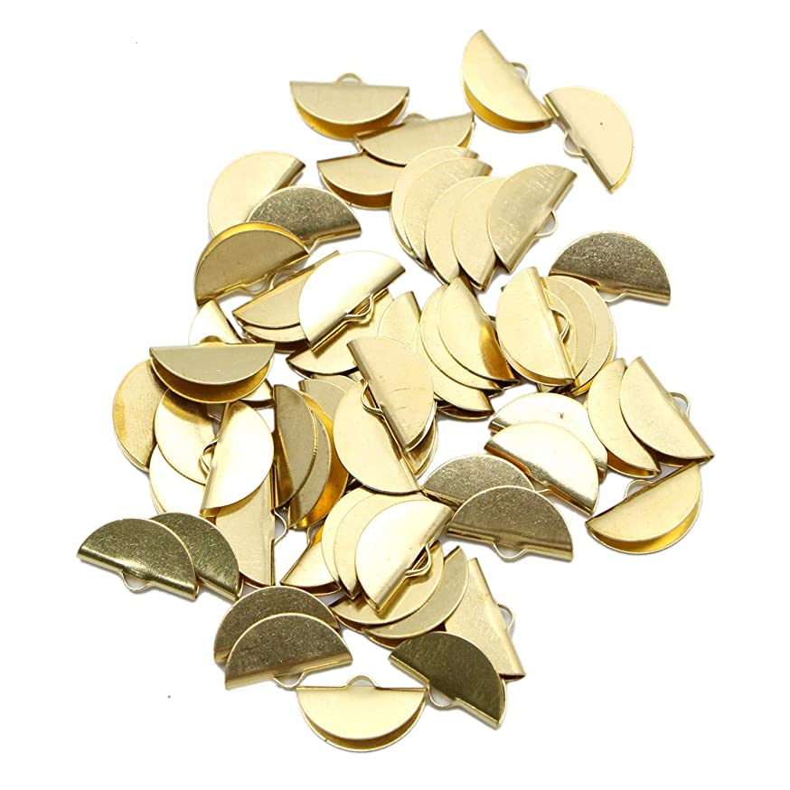 Monrocco 60 Pieces Ribbon Semi Circle Crimp End Clip Clamp Cord Cap Tip for DIY Jewelry Making Findings,Gold