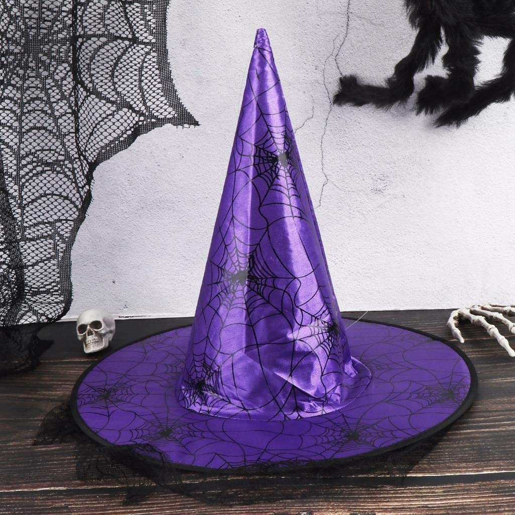 3 Colors XIDAJIE 3PCS Halloween Costume Witch Hat with Lace Cosplay Wicked Witch Hat Halloween Costume Accessory for Holiday Halloween Party