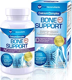 Calcium Supplement (Citrate & Hydroxyapatite 1000mg) for Complete Bone Health + Vitamin D3 K2 Magnesium & More, 180 Tablet...