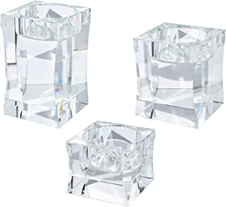 Le Sens Amazing Home Candle Holders Set of 3 Pieces Elegant Heavy Crystal Diamond Side Cut Tealight Holders, Clear Square Glass Cube Candle Holder for Wedding Centerpiece and Home Decoration