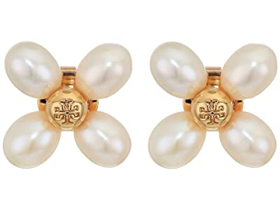 Tory Burch Pearl Clover Stud Earrings (Tory Gold/Tory Gold/Pearl/Brass) Earring