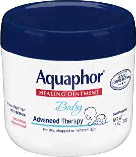 Aquaphor Baby Healing Ointment - Advance Therapy for Diaper Rash, Chapped Cheeks and Minor Scrapes - 14 Ounce (Pack of 1) Jar, Multicolor