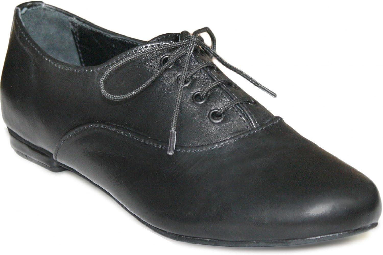German Wear Damen Halbschuh Oxford lederschuhe aus Glattleder in schwarz  | Sehr gute Qualität