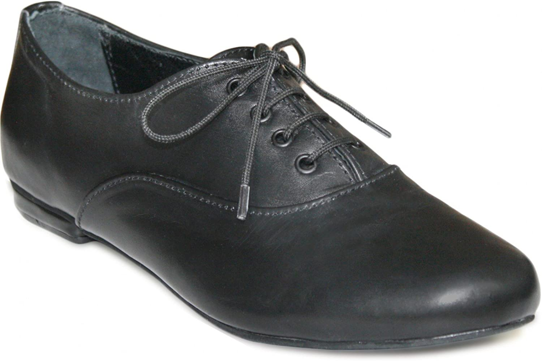 German Wear Damen Halbschuh Oxford Lederschuhe aus Glattleder in schwarz