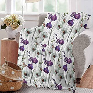 Luoiaax Watercolor Flower Children's Blanket Wild Orchid Family Flowerpot Plants with Blooms Romantic Floral Art Lightweight Soft Warm and Comfortable W60 x L70 Inch Purple White