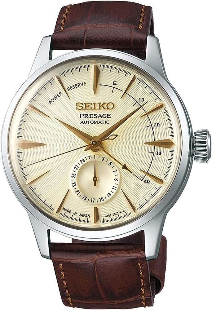 Seiko,orologio per uomo  automatico, con cinturino in pelle di vitello e cassa in acciaio inossidabile SSA387J1