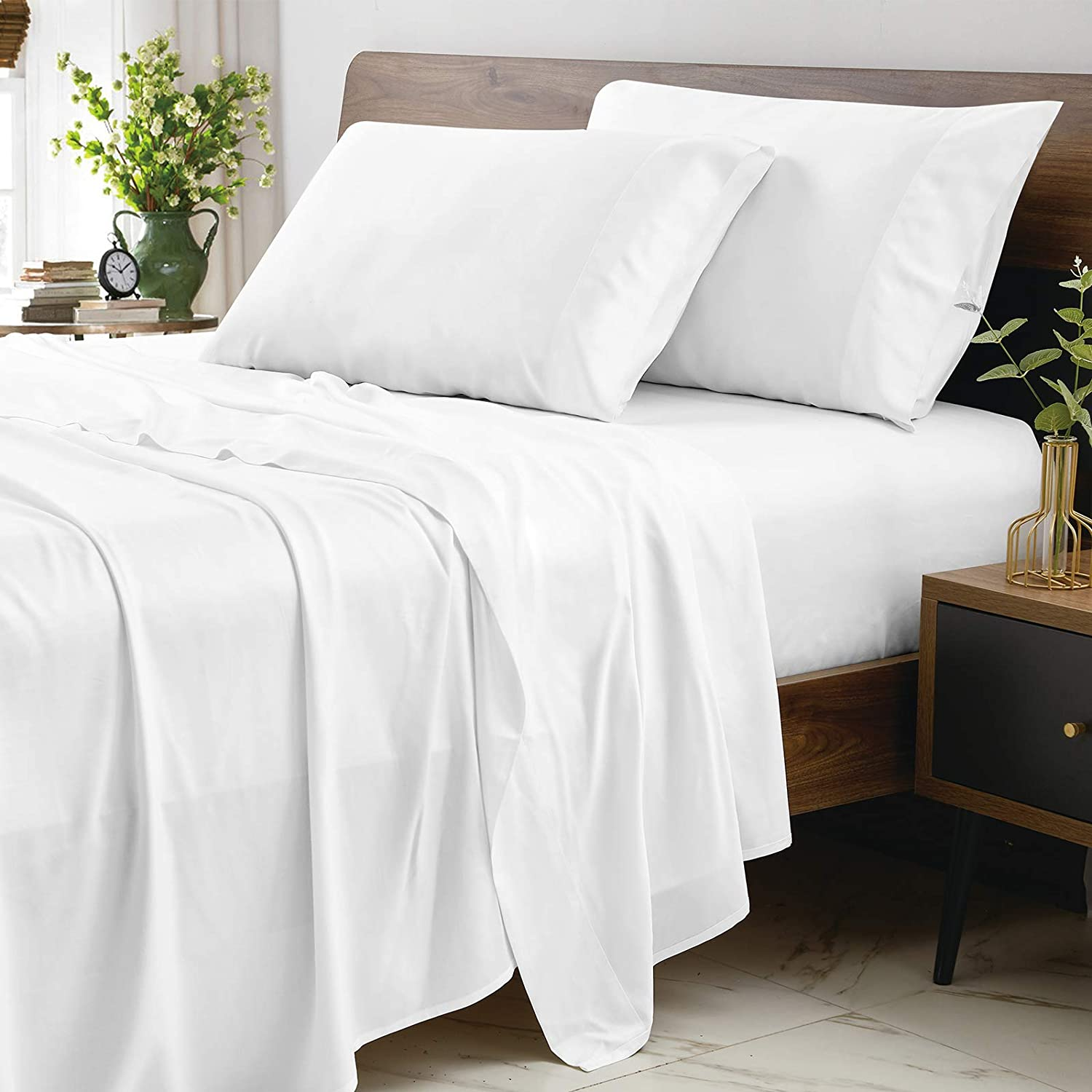 CozyLux 100% Organic Bamboo Sheets Twin Tucson Mall 300 White Thread Co Free shipping on posting reviews Size