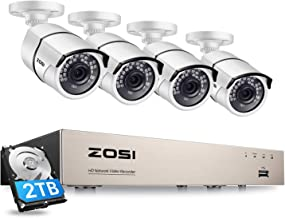 ZOSI 8 Channel 5MP PoE CCTV Camera System Outdoor,H.265+ PoE NVR Recorder with 1TB Hard Drive and 4 Surveillance Bullet Ca...