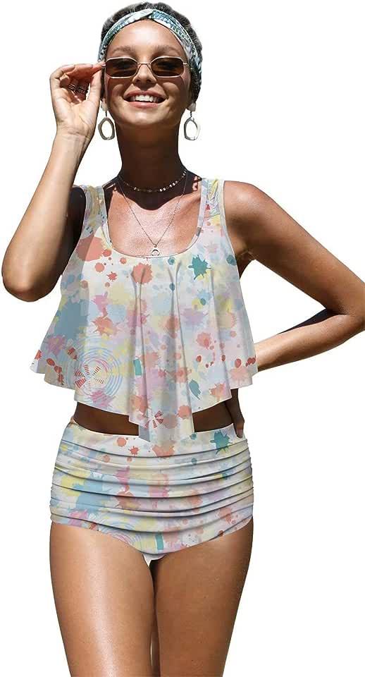 Angerella Womens Absctract Pattern Summer Flounce Bikinis High Waisted Swimsuits,S-38
