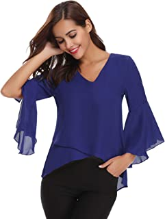 Abollria Damen Chiffon Bluse 3/4 Arm Tunika Blusen V Ausschnitt Leicht Asymmetrisch Shirt mit Volant Trompetenärmeln