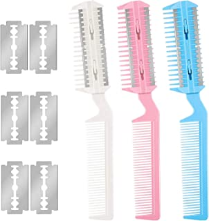 Hair Razor Comb 3 Packs with Extra 6 Blades, Dual Side Cutting Hair Cutter Brush Equipped with Double Edge Razor Blades for Thin & Thick Hair Cutting and Styling for Men Women and Pet Hair