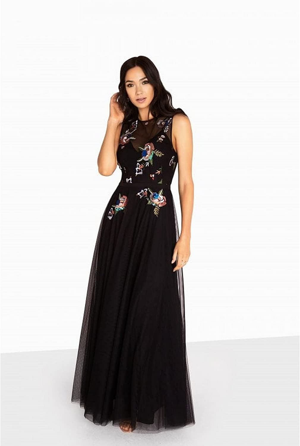 Little Mistress Womens Ladies Hallie Sequin Embroidered Maxi Dress