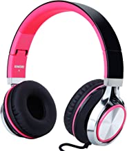 RockPapa I2052 Over Ear Foldable Headphones with Microphone, Noise Isolating, Adjustable Headsets for iPhone iPad iPod MP3/4 Laptop Black/Pink