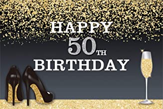 LFEEY 10x8ft Lady Mother's 50th Birthday Party Backdrop Customizable Women Fabulous Fifty Years Old Word Clouds Golden High Heels Pattern Black Photo Background Video Drapes Photo Booth Props