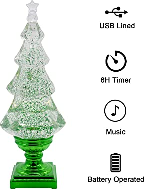 DRomance Swirling Glitter Christmas Tree with Music, LED Light-up X-mas Tree Musical Snow Globe, Battey Powered and USB Cord Christmas Tree Table Decoration Light(Green)